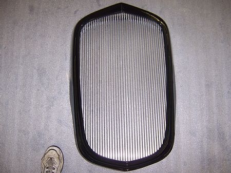 1934 Chevy master grille shell w/fiberglass trimband, inside hardware & aluminum bars installed