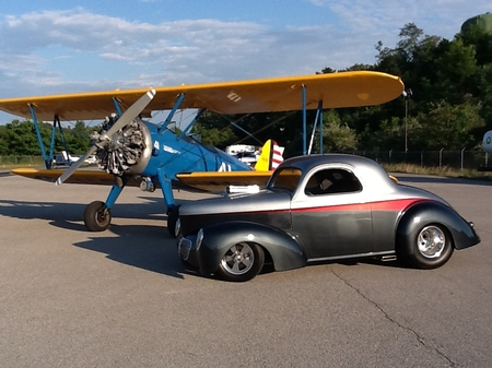 1940 Willys with 1941 WW11 Stearman Biplane Dave Reese owner